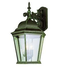 verde green outdoor wall light trans globe signature 3 light outdoor wall lantern in verde green