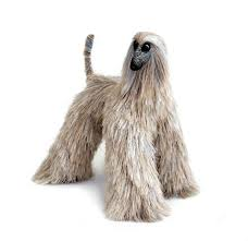 afghan hound brindle afghan hound dog figurine faux fur toy needle