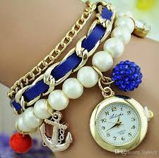 pearl bracelet watches images Fashion pearl chain women bracelet watch boat anchor pendant jpg