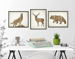 Home Decor Set by Deer Wolf Bear Wall Art Print Set Of 3 Wood Hunting Lodge