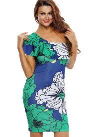 green floral print one shoulder party dress one shoulder dresses