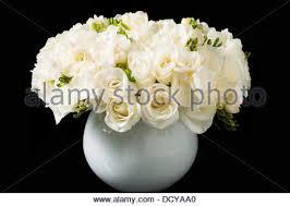 White Roses In A Vase Bouquet Of Roses In Black Vase Against Black Background Stock