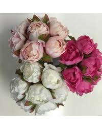 Silk Peonies Silk Peony Peonies Bouquet Bud Pre Made White Soft Pink Pink 7