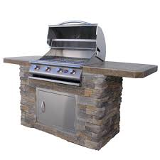 cal flame 7 ft natural stone bbq island with 4 burner grill in