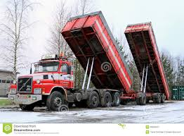 volvo dump truck volvo n12 truck with dump box trailers up editorial photo image