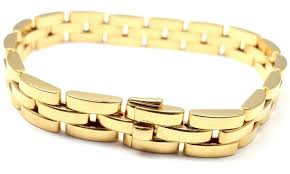 gold bracelet with links images Cartier maillon panthere 3 row link gold bracelet at 1stdibs JPG