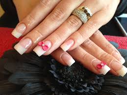 full set of acrylic nails with pink gelux gel polish and 3d