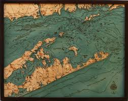 Long Island New York Map by Long Island Sound New York Connecticut Wood Chart Wooden