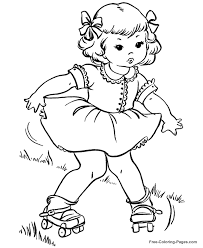 summer coloring book pages rollerskates 05