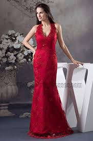 burgundy lace halter evening dress formal gown