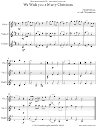 we wish you a merry 3 violins sheet by
