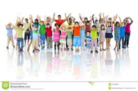 of children celebrating friendship cheerful concept stock