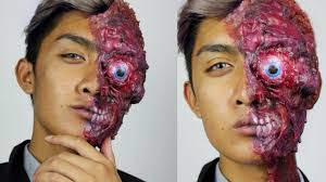 two face half burned harvey dent halloween makeup tutorial youtube