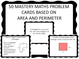 50 ks2 mastery maths problem cards based on area and perimeter