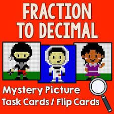 fractions to decimal mystery picture task cards with coloring