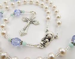 personalized rosary purple and mint green swarovski personalized rosary