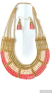 gold beaded necklace set images Peach and gold beads necklace set jpg