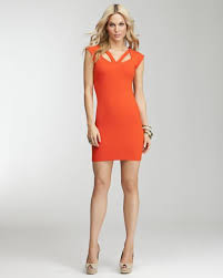 bebe orange dress zilnasa waker