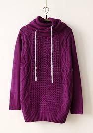purple sweater purple plain drawstring hooded pullover sweater pullovers