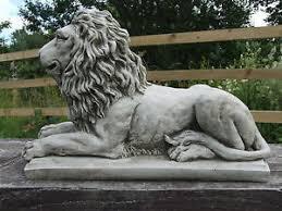 lion statue on plinth cast stone garden ornament patio home decor