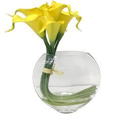 yellow calla yellow calla in glass vase at home at home