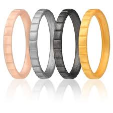 rubber wedding rings silicone wedding ring for by roq set of 4 thin stackable