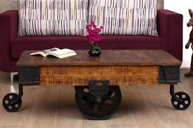 buy milton natural finish wooden cart coffee table online in india