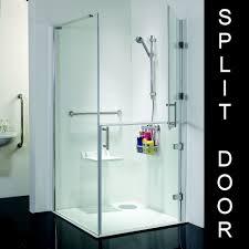 the stylish full height hinged split frameless glass doors are