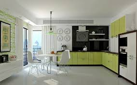 kitchen white kitchen cabinet with green and black accent color