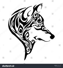 wolf head tribal tattoo sketch drawing stock vector 503751409