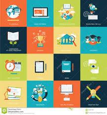 design online education set of modern flat design concept icons for online education stock