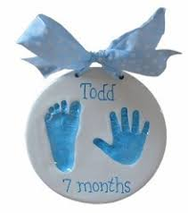impression baby handprint ornamnet for the