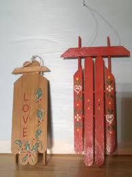 vintage handmade ornaments popsicle stick sleds stick