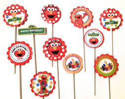 sesame cake toppers elmo birthday cupcake topper sesame birthday party