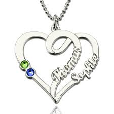 couples heart necklace images Personalized love heart in heart necklace gift for couples jpg