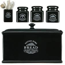 black canisters for kitchen ceramic tea coffee sugar jars ebay