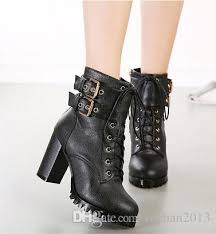 womens motorbike boots australia 2015 fashion buckle motorcycle boots black leather boots 9cm