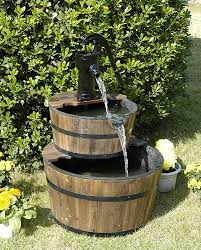 amazon com wood barrel with pump outdoor water fountain large