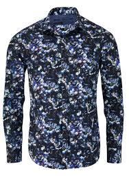 Blau Schwarz Muster Langarm Hemd Mit Brusttasche Muster Schwarz Ecru Blau