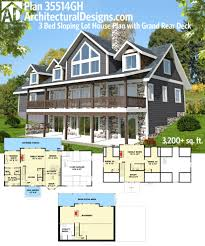 sloping lot house plans plan 35514gh 3 bed sloping lot house plan with grand rear deck