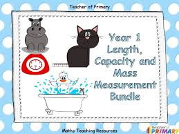 year 1 length capacity and mass measurement bundle by teacher of