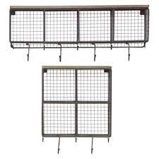 natural wire mesh four square cubbies w raw wooden top kalalou