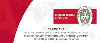 bureau veritas certification logo teamcast has been granted iso 9001 2015 certification teamcast