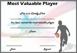 basketball mvp certificate template most valuable player award
