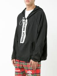 off white mirror anorak jacket blak white men clothing sport