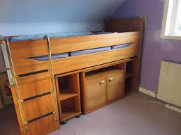 mid height cabin bed with desk drawers cupboard shelves u0026 ladder