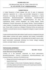 payroll manager resume hrrecruiter free resume sles blue sky resumes