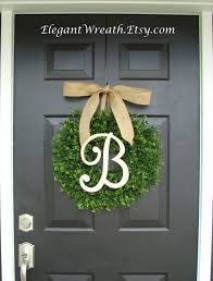 faux boxwood wreath monogram spring wreath outdoor door hanging
