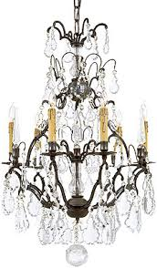 Bronze And Crystal Chandeliers French Crystal 6 Light Chandelier With Patina Bronze Finish