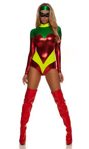 Matching Women Halloween Costumes Robin Superhero Costume Includes Long Sleeve Metallic Mock